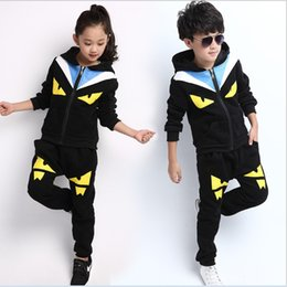 Wholesale Big Boys Outfits - Good Quality Big Boys Girls Cartoon Casual Outfit Children Autumn Winter Zipper Hooded Jacket+Pants 2pcs Sets Kids Clothing Athletic Suit