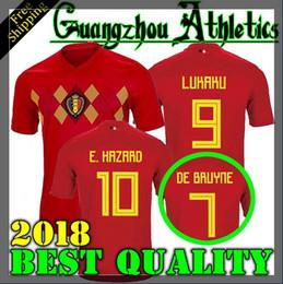 Wholesale Cup Shirts - 2018 World Cup Belgium Soccer Jersey 2018 Thail Quality Home red LUKAKU FELLAINI E.HAZARD KOMPANY DE BRUYNE 18 19 Belgium football shirt