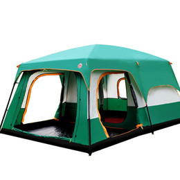 Wholesale Big Two Game - Wholesale- Luxury Ultralarge Outdoor 6 10 12 People Camping 4Season Tent Outing Two Bedroom Tent Big High Quality Party Family Camping Tent