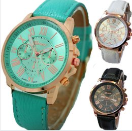 Wholesale Wholesale Watches Brands - Unisex Geneva Leather PU Quartz Watches Men Women Luxury Brand Numerals Roma Men's Watch Casual dress wrist watches wholesale