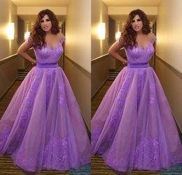 Wholesale Najwa Karam Custom - Saudi Arabia Purple Violet Dubai Evening Gowns Najwa Karam Celebrity Dresses Plus Size Prom Formal Dress Vestidos de Fiesta Longo