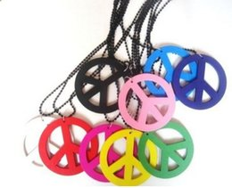 Wholesale Wholesale Color Wooden Beads - 10pcs Vintage Multi Color Hip Hop Wooden Peace Sign Charms Bead Chains Choker Necklace Pendants DIY Jewelry Women Dress P1709
