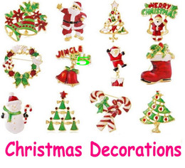 Wholesale Red Heart Pin Vintage - Christmas ornament Christmas Brooch kids lovely cartoon character Santa Claus snowman 3D Vintage Brooch pins jewelry 12 colors