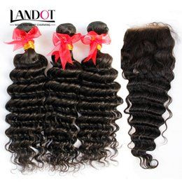 Wholesale Russian Deep Wave Hair - Russian Virgin Hair Deep Wave With Closure 7A Unprocessed Curly Human Hair Weaves 3 Bundles And 1Piece Top Lace Closures Natural Black Wefts