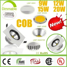 Wholesale Dimmable Led Csa - High Bright CREE 9W 12W 15W 20W Dimmable COB LED Downlights+Power Supply 110-240V Tiltable Fixture Recessed Ceiling Down Lights Lamps CSA UL