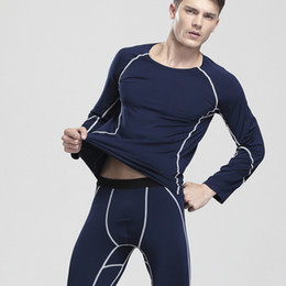 Wholesale Thin Male Underwear - High quality new style men winter Long Johns Thin cotton valvet Thermal Underwear Sets Sleepwear male keep warm Homewear