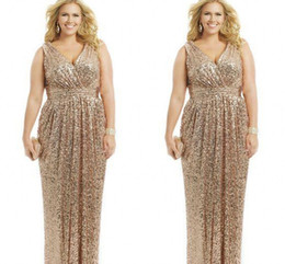 sexy mother bride dresses plus size Coupons - Sexy Plus Size Dresses Rose Gold Sequin Sheath V-Neck Floor Length Evening Gowns Formal Mother of the Bride Prom Dress Custom