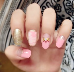Wholesale fake color french nails - Wholesale- Fashion Bow Fake Nails 3d French Faux Ongles for Nail Display Gold Pink Color Etagere Free Glue 20pcs pack XCP