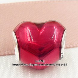 Wholesale Valentines Heart Glass - New 2016 Valentine Day 925 Sterling Silver In My Heart Charm Bead with Pink Enamel Fits European Pandora Jewelry Bracelets & Necklace