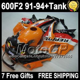 Wholesale Honda Cbr F2 Fairings - 7 gifts+tank For HONDA CBR 600F2 F2 91-94 CBR600RR FS CBR600 F2 Repsol CBR600F2 C#420 91 92 93 94 orange red CBR 600F2 fairings kits
