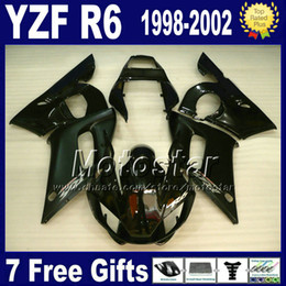 Wholesale Yamaha R6 Motorcycle - ABS full fairing kit for YAMAHA YZF600 YZF R6 1998 1999 2000 2001 2002 YZF-R6 98-02 all glossy black ENEOS motorcycle fairings VB4 +7 gifts