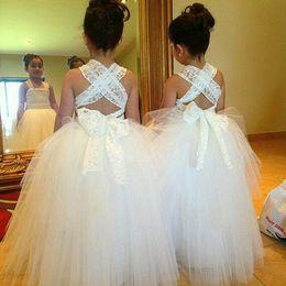 Wholesale Lace Cross Back Wedding Dress - Lovely Criss-Cross back Square Neck Girls' Formal Occasion Dresses Lace Ball Gown Floor Length flower girl dresses LA 192