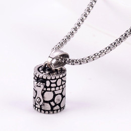 Wholesale Pets Snakes - Openable Ashes Box Pendant Urn Chain Vintage Beads Chains Necklace Titanium Steel Pet Cremation Jewelry Memorial Keepsake Ash Holder GZ204
