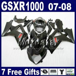 zx14 carenados rojos Rebajas Kit de carenado de envío gratuito para 07 08 GSXR 1000 SUZUKI GSXR1000 2007 GSX-R1000 2008 carenado todo negro carenado K7 FD23 + asiento capucha