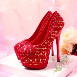 Wholesale Korean Sexy High Heels - 2015 Korean Style Red wedding shoes Sexy high-heeled shoes crystal diamond waterproof nightclub performances shoes Bling pumps
