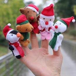 Wholesale Big Snowmen Santa Christmas - 5pcs lot Christmas Finger Puppets Plush Toys Cartoon Santa Claus Snowman Hand Puppet Christmas Deer Stuffed Animals