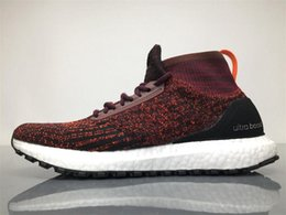 Wholesale Mens Burgundy Boots - 2017 Ultra Boost ATR Mid Boots Burgundy S82035 Running Shoes Real Boost Endiess Energy Sneakers for Mens 4 Colors Sports Outdoor Sneaker