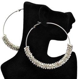 Wholesale Bling Earrings Hoops - Silver Plated Basketball Wives Rhinstone Spacer Beads Wives Hoop Bling Earrings