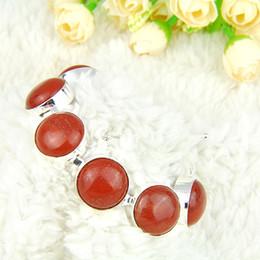 Wholesale Silver Red Jasper - 2PCS   Lot High Quality Holiday Gift Newest Round Red Jasper Gemstone Chain Bracelet B1059