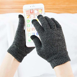 Wholesale Touch Screen Glove Cotton - Solid Magic Gloves Women Men Stretch Knit touch screen gloves thick warm magic Gloves Mittens Hot Winter Warm Accessories Wool