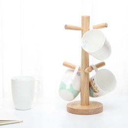 Wholesale Folding Cup Holder Free Shipping - The Wooden Cup Holder mugs holder coffee cups holder drink cup rack free shipping