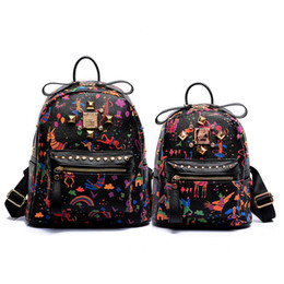 Wholesale Famous Cartoon Paintings - cartoon painting designer women backpack high quality famous brand school bag 2017 pu leather black backpack travel bags