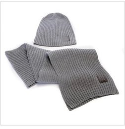 Wholesale Hats Gloves Sets - Wholesale-The latest style hat scarf for men and women suits two-piece