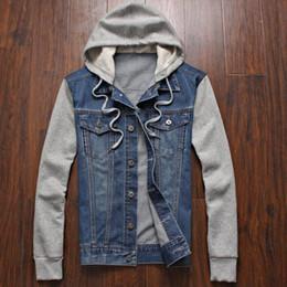 Wholesale Men Jean Jacket Winter - Wholesale-Mens Winter Jeans Outwear Plus Size Hoodies Jean jacket Casual Fashion outwear Size m l xl xxxl xxxxl xxxxxl