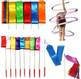 Wholesale Ribbon Batons - 9 Color 4M Gym Dance Ribbon Rhythmic Art Gymnastic Streamer Baton Twirling Rod