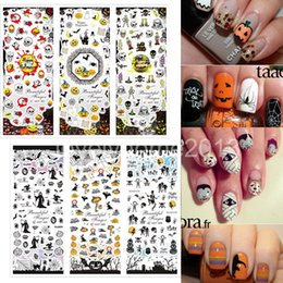 Wholesale Nail Stickers Skulls - Wholesale-6 Sheets 2015 Latest Halloween Water Transfer Decal Stickers Nail Art Tips AllHallow'sDay Decoration Ghost Bat Skull Witch
