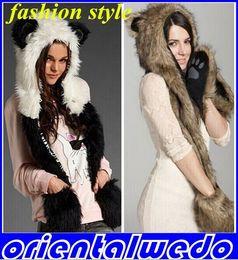 Wholesale Embellished Hats - 1 PC Fashion fur hat female winter animal cap faux fur one piece cartoon cap belt scarfnew arrive!! Free Shipping