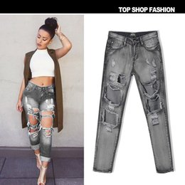 Wholesale Distressed Jeans Woman - Women's Vintage boyfriend slouchy Big Ripped Destroyed Washed Out jeans Denim Distressed punk rock trousers pants for women
