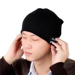 Wholesale Hot Colours Winter Women - Hot Men Women Soft Winter Beanie Hats Wireless Bluetooth Smart Cap Headphone Headset Speaker Mic Headgear Knitted Cap More Colour 30pcs DHL