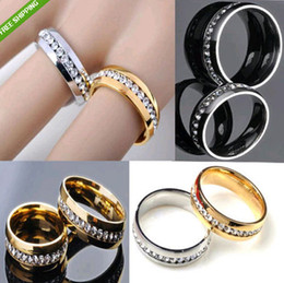 Wholesale Stainless Steel Channel Ring Wholesale - 20pcs Golden silver Mix Comfort Fit One row Zircon Stainless Steel Charm Rings Full circle with CZ Rings Wholesale Rhinestone Jewelry lots