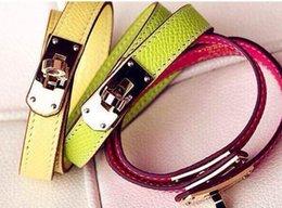 Wholesale party bags boxes - &#72ermes luxury real leather bracelet with box and dust bag free shipping
