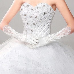 Wholesale White Prom Gloves - 2016 White Full Finger Bridal Gloves With Applique In Stock Below Elbow Length Long Bridal Gloves for Wedding Quinceanera Prom occation