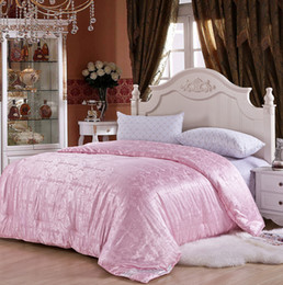 Wholesale Thick Comforters - Wholesale-Four Seasons Thick Thin 100% Natural Silk Handmade Comforter For Single Double Bed Luxury Duvet Blanket Quilt Filling Filler