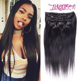 Wholesale Weave Clips Wholesale - Peruvian Clip In Hair Extensions Silky Straight Human Hair Weave Unprocessed Natural Beauty Hair Extensions Natural Color