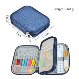 Wholesale Needle Crafts - Crochet Hooks Set 72pcs Mix 21 SizesSoft Rubber Handle Yarn Knitting Needle Set With Blue Case Women DIY Craft Tools Accessory