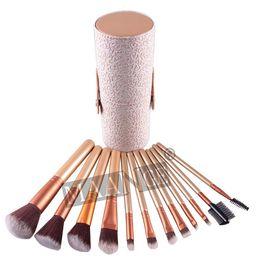 Wholesale Wholesale Cosmetic Brush Holder - 10pcs Woman maange Makeup Brushes 12 PCS Cosmetic Set Eyeshadow Blusher Brush kit Black Holder Case Make up Brush Maquiagem 10Sets