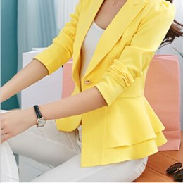 Wholesale Women Yellow Blazers - 2015 Spring Autumn Ladies Ruffle Slim Blazer And Jackets Plus Size 3XL Women Fashion Black Yellow White Blaser Suits Terno Feminino