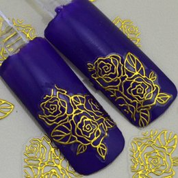Wholesale 3d Nail Stickers Metal - 3D gold Decal Stickers Nail Art Tip DIY Decoration stamping Manicure
