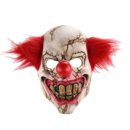 Wholesale masquerade hair accessories - Halloween Mask Scary Clown Latex Full Face Mask Big Mouth Red Hair Nose Cosplay Horror masquerade mask Ghost Party
