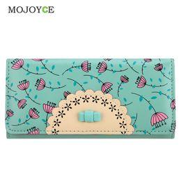 Wholesale Brand Folder - Wholesale- Fashion Flora Printing Wallet Women Luxury Brand Folder Women Clutch Wallets Card Holder Money Purse Candy Color Card Holder