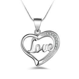 Dia dia dos namorados on-line-Frete grátis moda de alta qualidade 925 prata amor coração com jóias com diamantes 925 colar de prata presentes do feriado do dia dos namorados Hot 1705