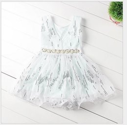 Wholesale Spandex Lycra Vest - New girls princess dress chlidren beaded belt sequins tulle vest dress kids Bling Bling party dress A5172
