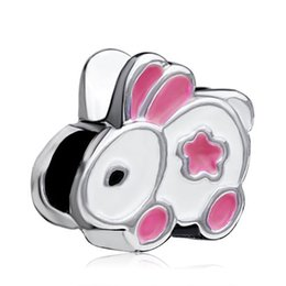 Wholesale Bunny Charm Bead - Animal lover's Pink Folwer White Fur Enamel Cute Rabbit Bunny Bead European Charm Fit Pandora Bracelet