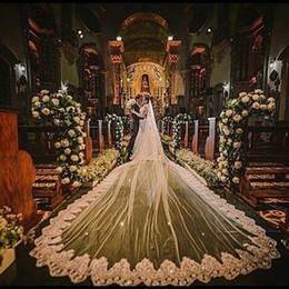 Wholesale Cathedral Ivory Wedding Dresses - Vintage 5 Meters Long Cathedral Wedding Veils One Tier Bridal Dresses Veil Lace Applique Tulle With Free Comb Custom Made