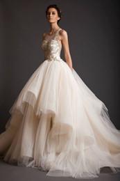 Wholesale Black Asymmetric Skirt - 2017 New Krikor Jabotian A Line Wedding Dresses Ball Gowns Sheer Bateau with Gold Appliques Illusion Back Asymmetric Court Train BA0430