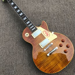 Wholesale Custom Solid Body Guitars - Free delivery upgrade custom store 1959 R9 tiger flame LP electric guitar standard LP 59 Electric Guitar wholesale